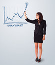 Woman drawing graph on whiteboard young Stock Images