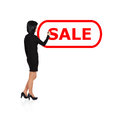 Woman drawing sale standing and Stock Images