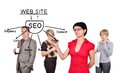 Woman drawing seo scheme businesswoman on a board invisible Stock Photo