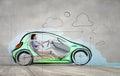 Woman in drawn car