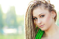 Woman with dreadlocks beautiful young being playful Royalty Free Stock Photos
