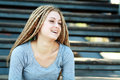 Woman with dreadlocks beautiful young being playful Stock Photography