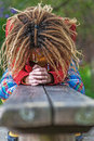 Woman with dreadlocks crying Royalty Free Stock Photo