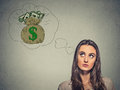 Woman dreaming of financial success money Royalty Free Stock Photo