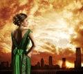 Woman in Dress, City Sky Sundown, Fashion Model Rear View Royalty Free Stock Photo