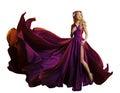Woman Dress Flying Fabric, Beautiful Fashion Model Purple Gown Royalty Free Stock Photo
