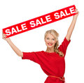 Woman in dress with red sale sign shopping gifts christmas x mas concept smiling Royalty Free Stock Photos