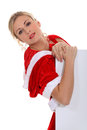 Woman dressed for christmas young blonde with a mantle of Stock Photos