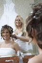 Woman Dressing Bride's Hair Stock Photos
