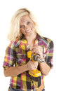 Woman drill happy Stock Photo