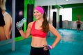 Woman drink water beautiful sport bottle Royalty Free Stock Photography
