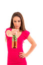 Woman drinking beer image has attached release Royalty Free Stock Image