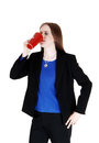 Woman drinking coffee a young in a black suit from a red mug isolated for white background Stock Photo