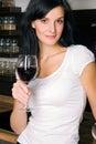 Woman drinking wine Royalty Free Stock Photo
