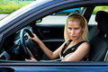 Woman driver attractive in her car Stock Photo