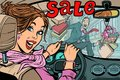 Woman driver goes to the sale, knocks down a man pedestrian. Roa