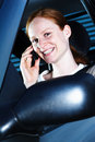 Woman Driver with Phone Royalty Free Stock Photos