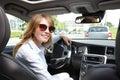Woman driving a car Royalty Free Stock Photo