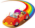 Woman driving on the rainbow Stock Images