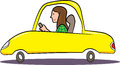 Woman driving yellow car cartoon illustration of a Royalty Free Stock Photo