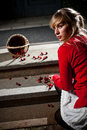 Woman dropped her fresh cherries Royalty Free Stock Images