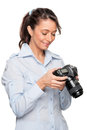 Woman with dslr Royalty Free Stock Image