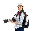 Woman dslr camera young holding on white background Royalty Free Stock Photos