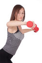 Woman with dumbbell in hand Royalty Free Stock Photo