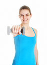 Woman dumbbells doing exercises smiling Stock Photos