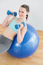 Woman with dumbbells on exercise ball in fitness studio fit beautiful young Stock Photo