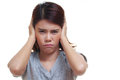 Woman ear ache beautiful young is touching her and closing her ears from noise health concept Royalty Free Stock Images