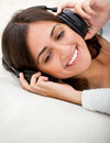 Woman with earphones Stock Photo