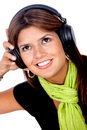 Woman with earphones Royalty Free Stock Photos