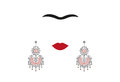 Woman earrings, Mexican crafts, women`s jew-ellery, minimal portrait Frida Kahlo , illustration isolated