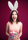 Woman with an Easter egg basket Royalty Free Stock Photo