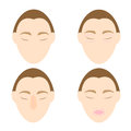 Woman easy massage anti face wrinkle stock vector Royalty Free Stock Photo