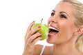 Woman eat green apple Royalty Free Stock Photo