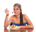 Woman eating Stock Photo