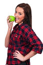 Woman eating an apple beautiful young a fresh delicious Royalty Free Stock Photo