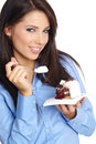 Woman eating the cake. Stock Images