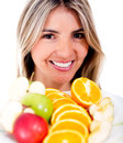 Woman eating fruits Royalty Free Stock Photo