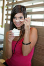 Woman eating an ice-cream. Royalty Free Stock Photo
