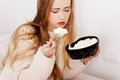 Woman eating ice cream Royalty Free Stock Photo
