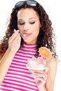Woman eating icecream Royalty Free Stock Image