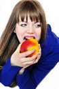 Woman eating red apple Royalty Free Stock Images