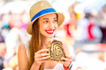 Woman eating traditional slovenian dessert Royalty Free Stock Photo