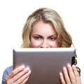 Woman with ebook reader Stock Photos