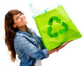 Woman with an ecological bag Stock Photography