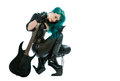 Woman with electric guitar Royalty Free Stock Photo