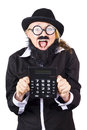 Woman with electronic calculator excited in disguise wearing bowler hat fake mustache and beard and wide rimmed glasses holding Royalty Free Stock Photos